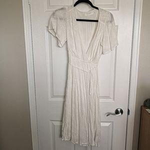 Astr White Eyelet Wrap Dress